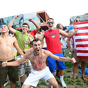 BETHLEHEM, PA - JUNE 16:  Soccer fans cheer for team U.S.A. as they face Ghana during the World Cup in Brazil at SteelStacks on June 16, 2014 in Bethlehem, Pennsylvania. (Photo by Lisa Lake/Getty Images)
