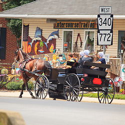 Intercourse, PA, USA - June 17, 2012:  Amish ride in an open horse-drawn wagon in Intercourse, PA.
