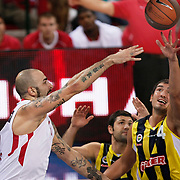 Olimpiakos's Pero ANTIC (L) during their Two Nations Cup basketball match Fenerbahce Ulker between Olimpiakos at Abdi Ipekci Arena in Istanbul Turkey on Saturday 01 October 2011. Photo by TURKPIX