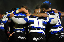 The Bath Rugby players huddle together - Mandatory byline: Patrick Khachfe/JMP - 07966 386802 - 04/11/2016 - RUGBY UNION - The Recreation Ground - Bath, England - Bath Rugby v Leicester Tigers - Anglo-Welsh Cup.
