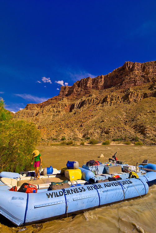 A Wilderness River Adventures motorized pontoon rafting trip stopping to camp at Rapid 5 in Cataract Canyon, the Colorado River in Canyonlands National Park, Utah, USA.
