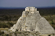 "El Adivino, the Pyramid of the Magician at Uxmal, meaning ""thrice-built."" Yucatan, Mexico."