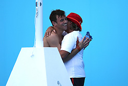 England's Tom Daley celebrates winning gold in the Men's Synchronised 10m Platform Final at the Optus Aquatic Centre during day nine of the 2018 Commonwealth Games in the Gold Coast, Australia. PRESS ASSOCIATION Photo. Picture date: Friday April 13, 2018. See PA story COMMONWEALTH Diving. Photo credit should read: Danny Lawson/PA Wire. RESTRICTIONS: Editorial use only. No commercial use. No video emulation.