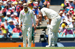 Australia's Nathan Lyon exchanges words with England's Tom Curran during day two of the Ashes Test match at Sydney Cricket Ground.