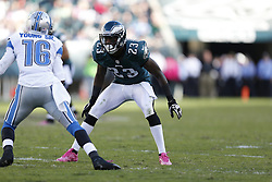 Philadelphia Eagles cornerback Dominique Rodgers-Cromartie (23) during the NFL game between the Detroit Lions and the Philadelphia Eagles on Sunday, October 14th 2012 in Philadelphia. The Lions won 26-23 in Overtime. (Photo by Brian Garfinkel)
