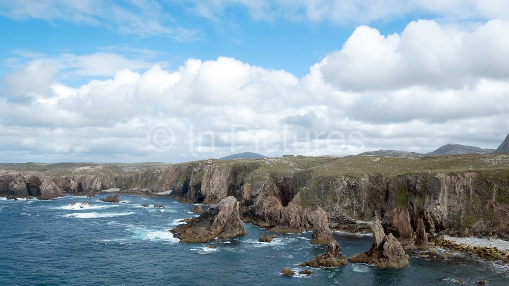 The cliffs and sea-stacks of Mangersta on the West Coast of the Isle of Lewis, Outer Hebrides, Scotland on 16 July 2018