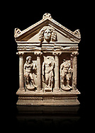 """Roman Herakles (Hercules)  relief sculptured sarcophagus, 2nd century AD, Perge, inv 928. it is from the group of tombs classified as. """"Columned Sarcophagi of Asia Minor"""".  Antalya Archaeology Museum, Turkey. Against a black background..<br /> <br /> If you prefer to buy from our ALAMY STOCK LIBRARY page at https://www.alamy.com/portfolio/paul-williams-funkystock/greco-roman-sculptures.html . Type -    Antalya    - into LOWER SEARCH WITHIN GALLERY box - Refine search by adding a subject, place, background colour, etc.<br /> <br /> Visit our ROMAN WORLD PHOTO COLLECTIONS for more photos to download or buy as wall art prints https://funkystock.photoshelter.com/gallery-collection/The-Romans-Art-Artefacts-Antiquities-Historic-Sites-Pictures-Images/C0000r2uLJJo9_s0"""