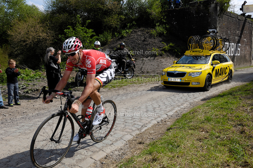 France, April 13th 2014: Kenny de Haes, Lotto-Belisol, chases the lead group through Pont Gibus, Wallers, during the 2014 Paris Roubaix cycle race.