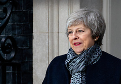 © Licensed to London News Pictures. 10/01/2019. London, UK. British Prime Minister Theresa May meets Japanese Prime Minister Shinzo Abe (not pictured) in Downing Street for a meeting. Photo credit : Tom Nicholson/LNP