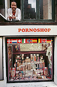 Vesterbro district porn shop. Vesterbro is the red light district of Copenhagen. Denmark.