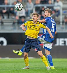 Mikkel M. Pedersen (Hobro IK) og Martin Ørnskov (Lyngby Boldklub) under kampen i 3F Superligaen mellem Lyngby Boldklub og Hobro IK den 20. juli 2020 på Lyngby Stadion (Foto: Claus Birch).