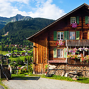 A Swiss farmhouse in the mountains (the Alps) near Grindelwald, Switzerland.