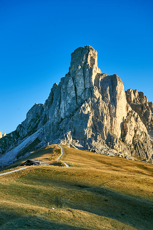 Nuvolau  mountain above the Giau Pass (Passo di Giau), Colle Santa Lucia, Dolomites, Belluno, Italy .<br /> <br /> Visit our ITALY HISTORIC PLACES PHOTO COLLECTION for more   photos of Italy to download or buy as prints https://funkystock.photoshelter.com/gallery-collection/2b-Pictures-Images-of-Italy-Photos-of-Italian-Historic-Landmark-Sites/C0000qxA2zGFjd_k