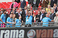 Secretary James Mooney lifts the trophy during the Vanarama National League Play Off Final match between Tranmere Rovers and Forest Green Rovers at Wembley Stadium, London, England on 14 May 2017. Photo by Shane Healey.