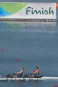 "Rio de Janeiro. BRAZIL.   GBR LW2X. Bow Charlotte TAYLOR and Kat COPELAND, winning the ""B"" Final at the 2016 Olympic Rowing Regatta. Lagoa Stadium,<br /> Copacabana,  ""Olympic Summer Games""<br /> Rodrigo de Freitas Lagoon, Lagoa.   Thursday  11/08/2016 <br /> <br /> [Mandatory Credit; Peter SPURRIER/Intersport Images]"