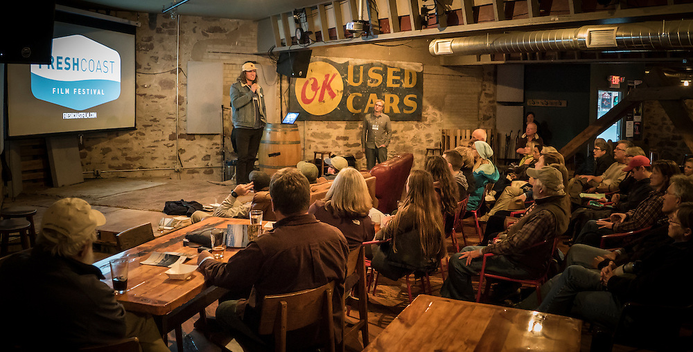 Filmmaker Colin McCarthy engages with the audience following his film Great Lakes Bad Lines at the Fresh Coast Film Festival in Marquette, Michigan. The festival, held annually in October, celebrates the outdoor lifestyle and environment of the Great Lakes region.