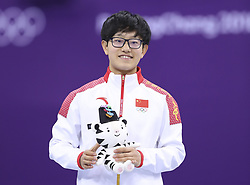 PYEONGCHANG, Feb. 17, 2018  Li Jinyu (L) of China poses for photos during venue ceremony of ladies' 1500m final of short track speed skating at 2018 PyeongChang Winter Olympic Games at Gangneung Ice Arena, Gangneung, South Korea, Feb.17, 2018. Li Jinyu claimed second place in a time of 2:25.703. (Credit Image: © Han Yan/Xinhua via ZUMA Wire)