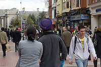 Shoppers on Dublins Grafton Street in Ireland. Grafton is one of two main shopping streets in Dublin and is pedestrianised.