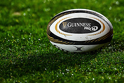 Guinness Pro14 branded ball<br /> <br /> Photographer Craig Thomas/Replay Images<br /> <br /> Guinness PRO14 Round 17 - Scarlets v Leinster - Friday 9th March 2018 - Parc Y Scarlets - Llanelli<br /> <br /> World Copyright © Replay Images . All rights reserved. info@replayimages.co.uk - http://replayimages.co.uk