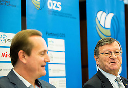 Metod Ropret and Aleksandar Boricic, president of CEV during press conference of Slovenian Volleyball Federation before FIVB Volleyball World League tournament in Ljubljana, on May 5, 2016 in Hotel Spik, Gozd Martuljek, Slovenia. Photo by Vid Ponikvar / Sportida