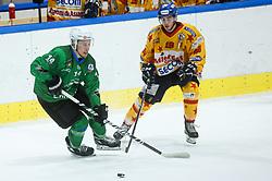 Bohinc Martin of HK SZ Olimpija vs Tessari Alessandro of Asiago during first leg Ice Hockey game between HK SZ Olimpija Ljubljana and Asiago Hockey in Final of Alps Hockey League 2020/21, on April 20, 2021 in Hala Tivoli, Ljubljana, Slovenia. Photo by Vid Ponikvar / Sportida