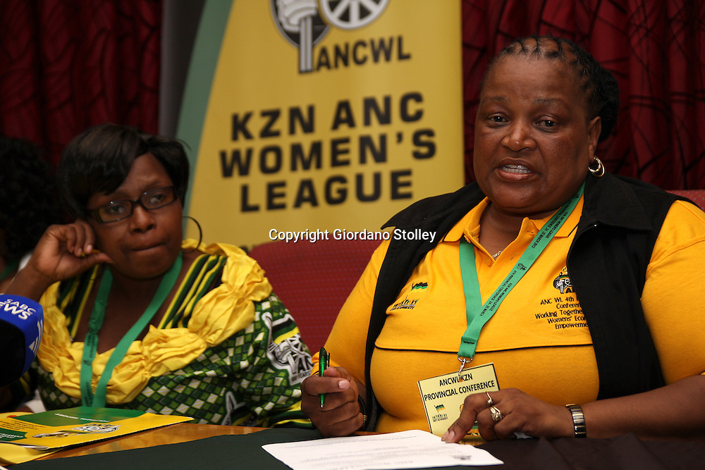 DURBAN - 25 March 2012 - Nonkosi Mvana (right), the African National Congress' National Executive Committee head organiser speaks at a press conference after the organisation's KZN provincial executive committee was elected. Looking on is Celiwe Madlopha, the league's newly elected provincial chairlady. Picture: Giordano Stolley/Allied Picture Press/APP