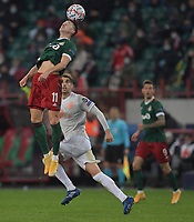 MOSCOW, RUSSIA - OCTOBER 27: Anton Miranchuk of Lokomotiv Moskva during the UEFA Champions League Group A stage match between Lokomotiv Moskva and FC Bayern Muenchen at RZD Arena on October 27, 2020 in Moscow, Russia. (Photo by MB Media)