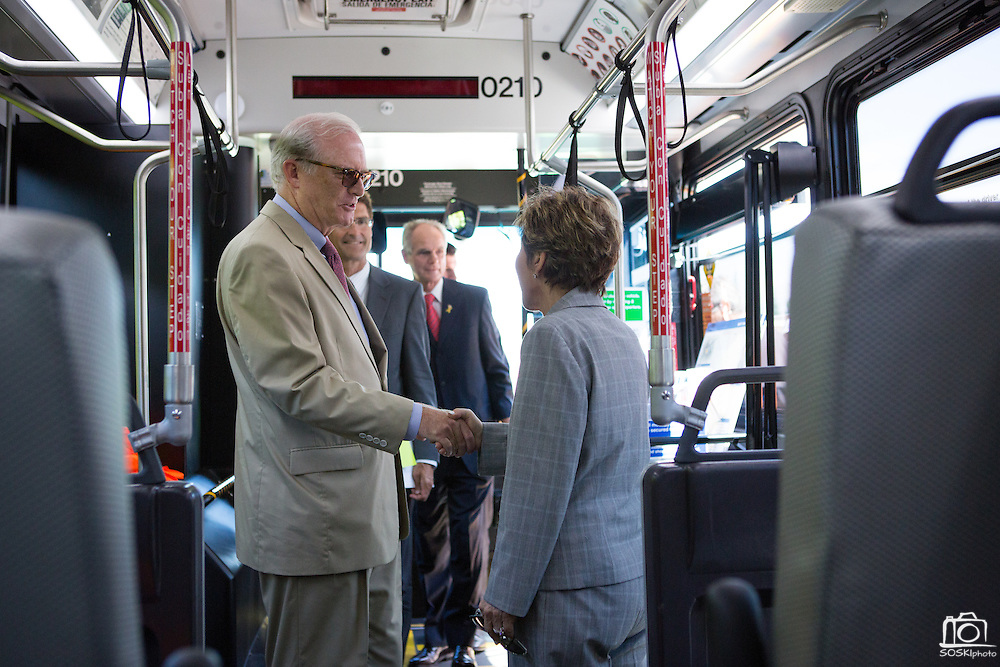 Valley Transportation Authority (VTA) general manager, Michael Burns, updates Sen. Barbara Boxer (D-CA) on the funding and progress of the Berryessa Extension Project in a private VTA Express bus in San Jose, Calif., on Aug. 21, 2012.  Photo by Stan Olszewski/SOSKIphoto.