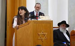 April 29, 2019 - Poway, California, USA - Hannah Kaye speaks about her mother Lori Gilbert-Kaye, 60, during a service at the Chabad of Poway on April 28, 2019 in Poway, Calif. Gilbert-Kaye was killed by a gunman at the synagogue. (Credit Image: © TNS via ZUMA Wire)