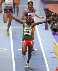 Burundi's Francine Niyonsaba celebrates winning the women's 800m final during day four of the 2018 IAAF Indoor World Championships at The Arena Birmingham.