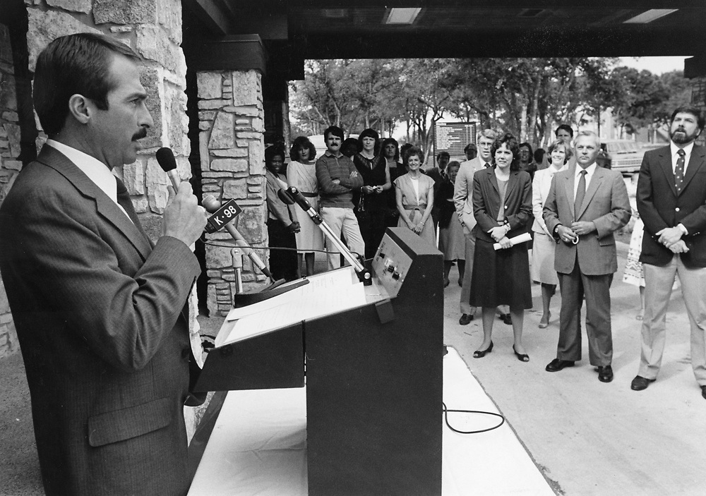 ©1990 City Council member Mark Spaeth speaks at a school dedication, Austin, TX