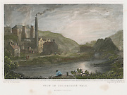 Blast furnaces for production of iron at Coalbrookdale, Monmouthshire, c1830. This scene is on the river Severn a few miles from Ironbridge. On the left, behind the tall chimney, it is possible to see the iron walkway giving access to the two blast furnaces in order to charge them with ore and fuel. After watercolour by Henry Gastineau (1797-1876) c1830.