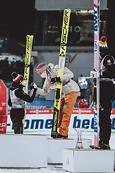 06.01.2021, Paul Außerleitner Schanze, Bischofshofen, AUT, FIS Weltcup Skisprung, Vierschanzentournee, Bischofshofen, Finale, Podium Gesamtsieg, im Bild Gesamtsieger Kamil Stoch (POL), 2. Platz Karl Geiger (GER), 3. Platz Dawid Kubacki (POL) // Overall Winner Kamil Stoch of Poland 2nd placed Karl Geiger of Germany 3rd placed Dawid Kubacki of Poland during Podium for the overall victory of the Four Hills Tournament of FIS Ski Jumping World Cup at the Paul Außerleitner Schanze in Bischofshofen, Austria on 2021/01/06. EXPA Pictures © 2020, PhotoCredit: EXPA/ JFK