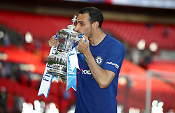 Chelsea's Davide Zappacosta celebrates with the FA Cup trophy