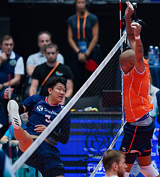 09-08-2019 NED: FIVB Tokyo Volleyball Qualification 2019 / Netherlands, - Korea, Rotterdam<br /> First match pool B in hall Ahoy between Netherlands - Korea (3-2) for one Olympic ticket / Nimir Abdelaziz #14 of Netherlands injured