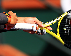 INDIAN WELLS, March 16, 2019  Photo taken on March 15, 2019 shows the bandages on Rafael Nadal's fingers during the men's singles quarterfinal match against Karen Khachanov of Russia at the BNP Paribas Open tennis tournament in Indian Wells, the United States, March 15, 2019. Nadal won 2-0 and advanced to the semifinal. (Credit Image: © Xinhua via ZUMA Wire)