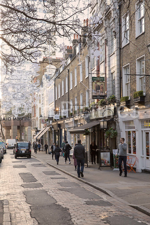 Christmas decorations on Monmouth Street on the 11th December 2018 in London in the United Kingdom.