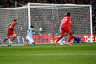 Manchester City Goalkeeper Wilfredo Caballero is unable to stop Philippe Coutinho of Liverpool (not in picture) shot hitting the back of the net to score a goal and equalise at 1-1.. Capital One Cup Final, Liverpool v Manchester City at Wembley stadium in London, England on Sunday 28th Feb 2016. pic by Chris Stading, Andrew Orchard sports photography.