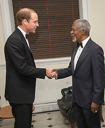 File photo dated 21/11/14 of Kofi Annan, meeting the Duke of Cambridge at the Royal United Services Institute and Banqueting House in Whitehall, London. Annan, one of the world's most celebrated diplomats and a charismatic symbol of the United Nations who rose through its ranks to become the first black African secretary-general, has died.