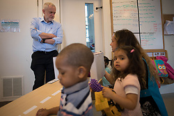 Labour leader Jeremy Corbyn meets staff and children at Marsham Street Community Nursery in Westminster, London, during a General Election campaign visit to highlight the party's pledge to overhaul childcare provision by rolling out free care to all two to four-year-olds.