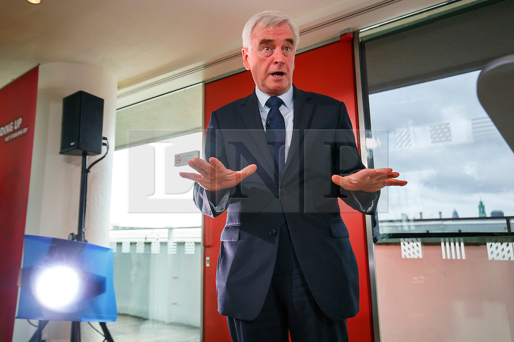 © Licensed to London News Pictures. 01/07/2016. London, UK. Shadow Chancellor JOHN MCDONNELL speaks on Labour's economic plan for Brexit at Royal Festival Hall in London on 1 July 2016. Photo credit: Tolga Akmen/LNP