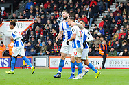 Goal - Florin Andone (10) of Brighton and Hove Albion celebrates scoring a goal to make the score 1-3 during the The FA Cup 3rd round match between Bournemouth and Brighton and Hove Albion at the Vitality Stadium, Bournemouth, England on 5 January 2019.