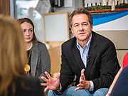 12 SEPTEMBER 2019 - DES MOINES, IOWA: Governor STEVE BULLOCK (D-MT) participates in a Caucus for Kids Facebook Live broadcast sponsored by the Children's Policy Coalition at New Horizons Academy. Gov. Bullock is vying to be the Democratic party's nominee in 2020. He is campaigning in Iowa this week he didn't qualify for the September 12 debate. Iowa traditionally hosts the the first election event of the presidential selection cycle. The Iowa Caucuses will be on Feb. 3, 2020.              PHOTO BY JACK KURTZ