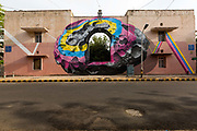 Details of NEVERCREWs mural, See through/See beyond on display in the Lodhi Colony area of New Delhi designated Indias first ever public art district.