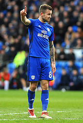 Joe Ralls of Cardiff City gives orders - Mandatory by-line: Nizaam Jones/JMP - 17/02/2018 -  FOOTBALL - Cardiff City Stadium - Cardiff, Wales -  Cardiff City v Middlesbrough - Sky Bet Championship