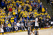 Golden State Warriors fans cheer as New Orleans Pelicans forward Nikola Mirotic (3) walks off the court after fouling out of the game at Oracle Arena during Game 2 of the Western Semifinals in Oakland, California, on May 1, 2018. (Stan Olszewski/Special to S.F. Examiner)