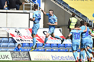 The Coventry City players celebrate Oxford United defender John Mousinho (15) own goal 0-1during the EFL Sky Bet League 1 match between Oxford United and Coventry City at the Kassam Stadium, Oxford, England on 9 September 2018.