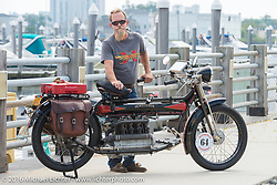 Steve Macdonald of New York with his 4-cylinder Mark Hill restored 1912 class-2 Henderson before the start of the Motorcycle Cannonball Race of the Century Run. Atlantic City, NJ, USA. September 9, 2016. Photography ©2016 Michael Lichter.