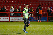 Disappointed Joe Pigott of Wimbledon leaves the pitch at full time during the EFL Sky Bet League 1 match between Accrington Stanley and AFC Wimbledon at the Fraser Eagle Stadium, Accrington, England on 1 February 2020.