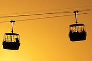 Israel, Dead Sea, Massada, The cable cars at sun set